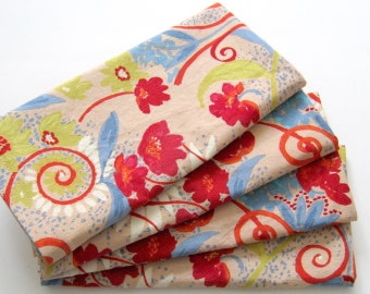 Cloth Napkins - Set of 4 - Red Blue Green Flower Napkins - Large Dinner Napkins, Table Napkins, Everyday Napkins