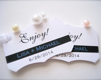 Wedding favor tags, personalized gift tags, favor tags, thank you tags, shower favor tags, enjoy tags - 30 count