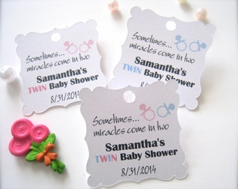 Twin baby shower favor tags, custom shower tags, party favor tags, tags for twin baby shower - 30 tags