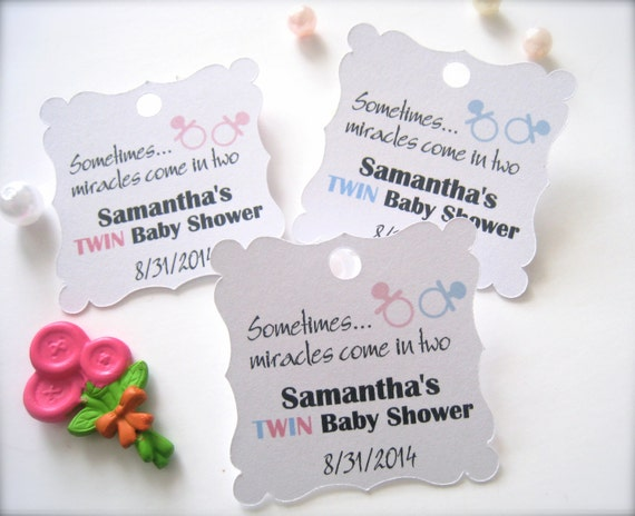 twin baby shower favor tags custom shower tags party favor tags