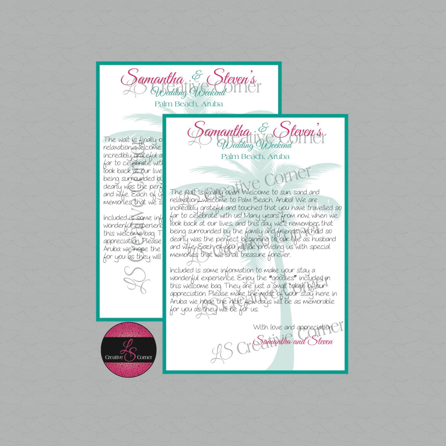 Destination Wedding Welcome Letter For Welcome Bag Aruba With