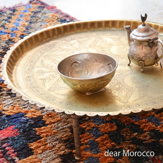 Vintage Moroccan Brass Tray Small Tea Table With Legs