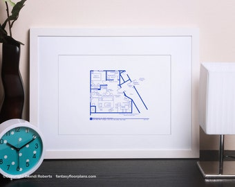 Seinfeld Apartment Layout - TV Show Floor Plan - BluePrint Poster Art for Sitcom Apartment of Jerry Seinfeld  **Featured on NBC's Today Show