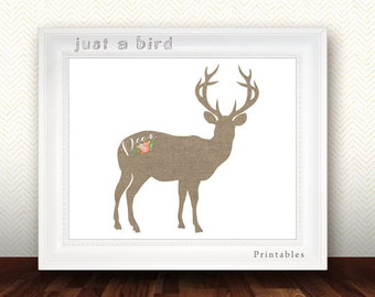 Burlap deer print, deer home decor, burlap nursery decor, burlap wall art, deer art print, deer wall art- INSTANT DOWNLOAD
