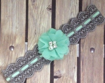 Mint headband, grey headband, vintage headband, flower girl headband, flower girl, lace headband, halo, mint and grey headband, a baby bow