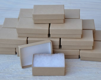 20 Gift Jewelry Boxes 3.25x 2.25x1 Kraft / Oatmeal Brown Retail Presentation with Cotton Fill
