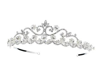 Floral Swirl Tiara Headpiece with Pearls & Rhinestones
