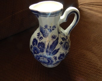 Small Delft Flowered Pitcher
