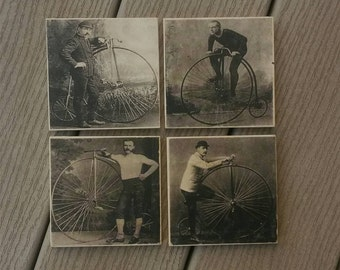 Gentlemen and their bikes coaster set