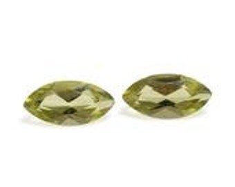 Hebei Peridot Loose Gemstones Set of 2 Marquise Cut 1A Quality 6x3mm TGW 0.45 cts.
