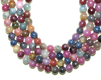 Ruby and Sapphire Natural 6mm Round Beads Full Strand 16 inches or Half Strand 8 inches
