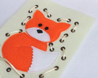 Lacing card Fox,Busy Bag, Learning game, Lacing Toy, Montessori game, Ready to Ship