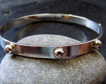 Silver Bangle with silver balls Bright Silver Bracelet Everyday Silver Bangle