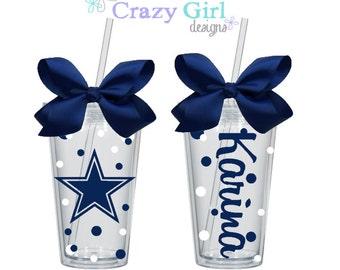 Personalized Cowboys Tumbler with Straw 16 oz. Acrylic Cup BPA Free Custom