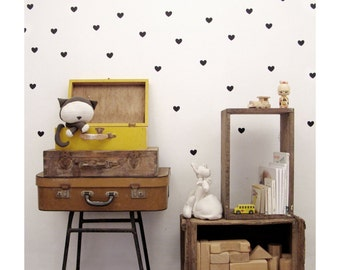 Heart wall decals in black, vinyl hearts wall decals, hearts wall stickers, wall stickers nursery