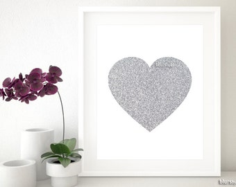 "Printable silver glitter heart, Valentines printable, silver nursery print, nursery decor, silver home decor, coral print 8X10"" 11x14"" gp025"