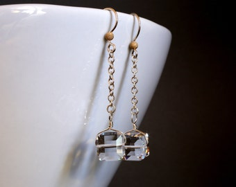 Swarovski Crystal Earrings, Crystal Cube Earrings, Long Earrings, Crystal Dangle Earrings, Bridal Jewelry, Wedding Earrings, Silver Earrings