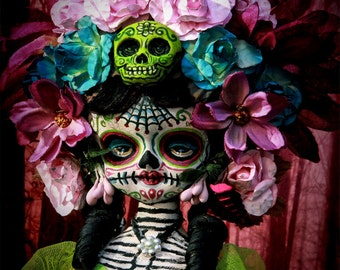 Beautiful Mortal Dia De Los Muertos Floral Tattooed Princess Doll canon PRINT 455 Reproduction by Michael brown