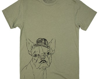 CLOSEOUT - Charles The Boston Terrier Bowler Hat Men's T-Shirt