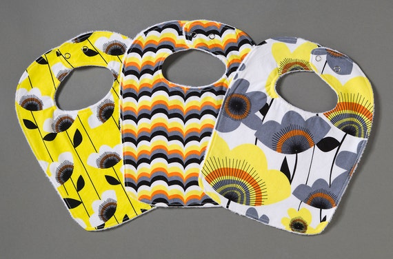 Baby Girl Bib Set - Large Flowers, Wavy Strips and Flower Vines in Summery Yellow, Orange, Black and Gray
