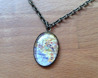 Antique brass - California scene - necklace