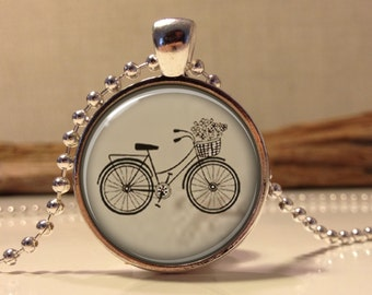 Old bicycle necklace.  Bicycle art pendant jewelry