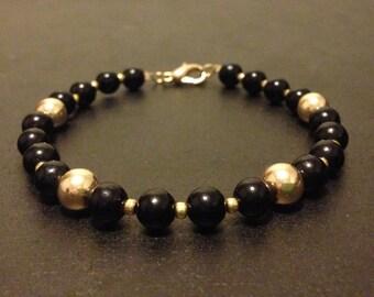 Black & Gold Filled Beaded Bracelet