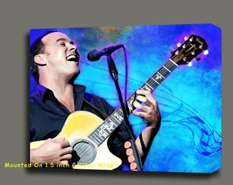 """Dave Matthews Concert Portrait Canvas Giclee, Acrylic Art W Gallery Wrap Ready To Hang Up To Size 42X34X1.5"""""""
