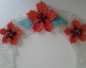 Beaded Necklace Fleur rouge