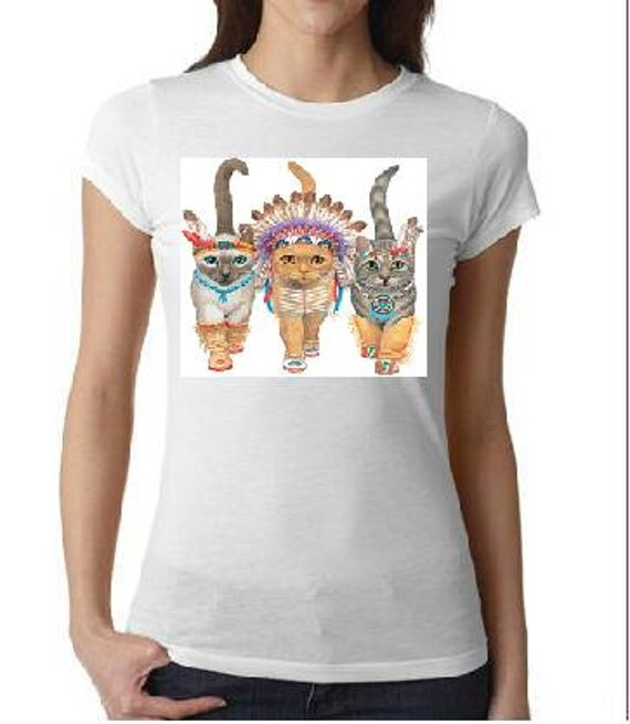 Indian Cats T Shirt Screen Printed Cool Tee Shirt Animals
