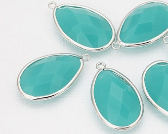 Mint Glass Teardrop Pendant Polished Rhodium -Plated - 2 Pieces [G0025-PRMT]