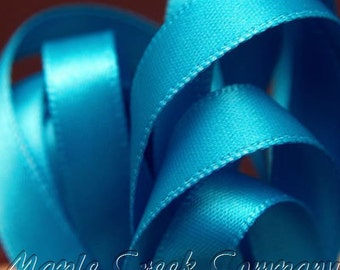 "5 yards of Turquoise Satin Single Face Ribbon, 5/8"" wide"