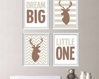 Baby Boy Nursery Art - Deer Nursery Art - Deer Nursery Decor - Deer Bedroom Art - Dream Big Little One Deer Print - Pick the Size (NS-198)