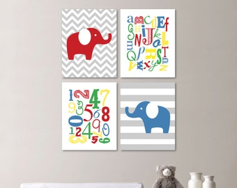 Baby Boy Nursery Art Print - Elephant Nursery Prints - Alphabet Nursery Prints - Nursery Decor - Blue Red Green - You Pick the Size (NS-511)