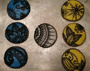 Henna/Paisley decorated sugar cookies (per dozen)
