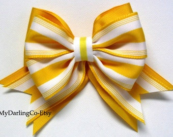 Yellow Wedding Yellow Flower Girl Yellow Stripe Bow Yellow Bridesmaid Yellow Prom Easter Bow Yellow Toddler Dress Yellow Girls Dress Belle