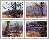 Bare Branches -  Set of 6 NOTE CARDS - Watercolor Paintings by Linda Henry (NCWC067)