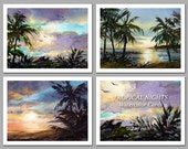 Tropical Nights - Set of 6 NOTE CARDS - Watercolor Paintings by Linda Henry (NCWC002)