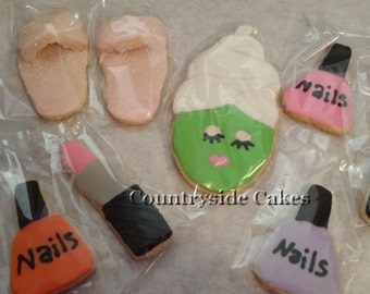 Spa Makeup themed Decorated sugar cookies -1 dozen