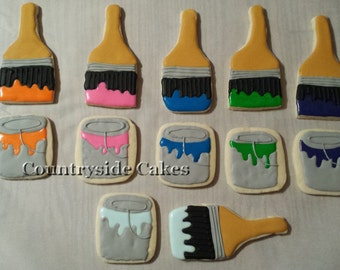 Paint Can and Paint Brush cookies, Painting decorated sugar cookies- 1 dozen