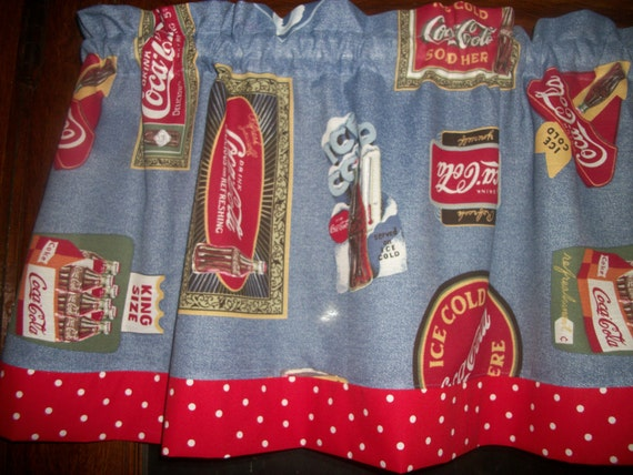 Valance Coca Cola Red White Blue Polka Dot By Yoursewingroom