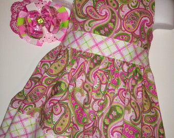 Pink and Green Paisley Girl Boutique Summer Sun Dress! Optional Bow Available! Girls Toddlers Baby Toddler Infant Birthday Party Dress