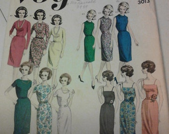 """1950s-60s Vintage Vogue 3013. Mad Men """"Proportioned Dress"""" Classic Styles. 34"""" Bust. Free US Shipping!"""