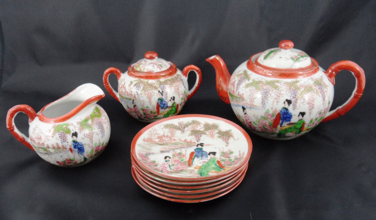 Lovely Antique Japanese Rokuzo landscape handpainted porcelain Tea set with  Geisha girls 1920's Signed