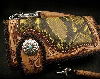Leather Biker Wallet, 925 Silver Concho / K04E16