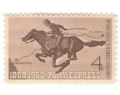 10 Unused 1960 Pony Express Vintage Postage Stamps Number 1154