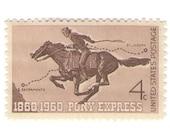10 Unused 1960 Pony Express Vintage Postage Stamps Number 1154