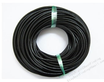 Leather cord Soft Genuine 4mm Round leather cord Black leather cording - 3meters