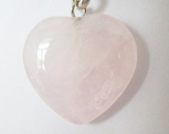 Pink Rose Quartz Heart Pendant Gemstone Heart Charm For Necklace or Earrings