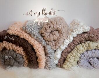 Chunky Blanket -Essential Blanket - Fine Merino  Baby Handspun - Photo prop - Neutral Colors - newborn Basket filler - Toddler Portrait